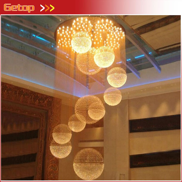 Best Price Modern Luxury Villa Duplex Staircase Hall Crystal Chandelier Hotel Restaurant Hall Big Ball Engineering Light