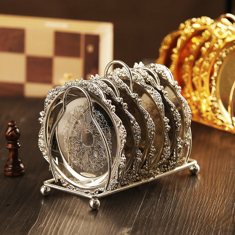 6pc Classical Golden Cocktail Metal Coaster Continental Vintage Zinc Alloy Silver Plated Gold Plated Mat placemat 4