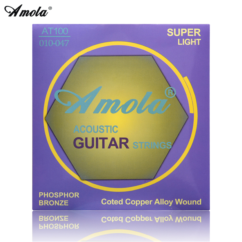 Amola akustiska gitarrsträngar set 010 011 012 PHOSPHOR BRONZE Coted Copper Alloy Acoustic Wound Guitar Strings 6st / set