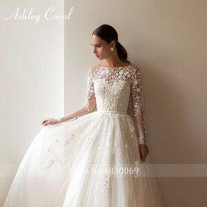 Image 5 - Ashley Carol Chữ A Áo Cưới 2020 Tay Dài Đi Biển Muỗng Lãng Mạn Đính Hạt Appliques Công Chúa Cô Dâu Đồ Bầu Đầm Vestido De Noiva