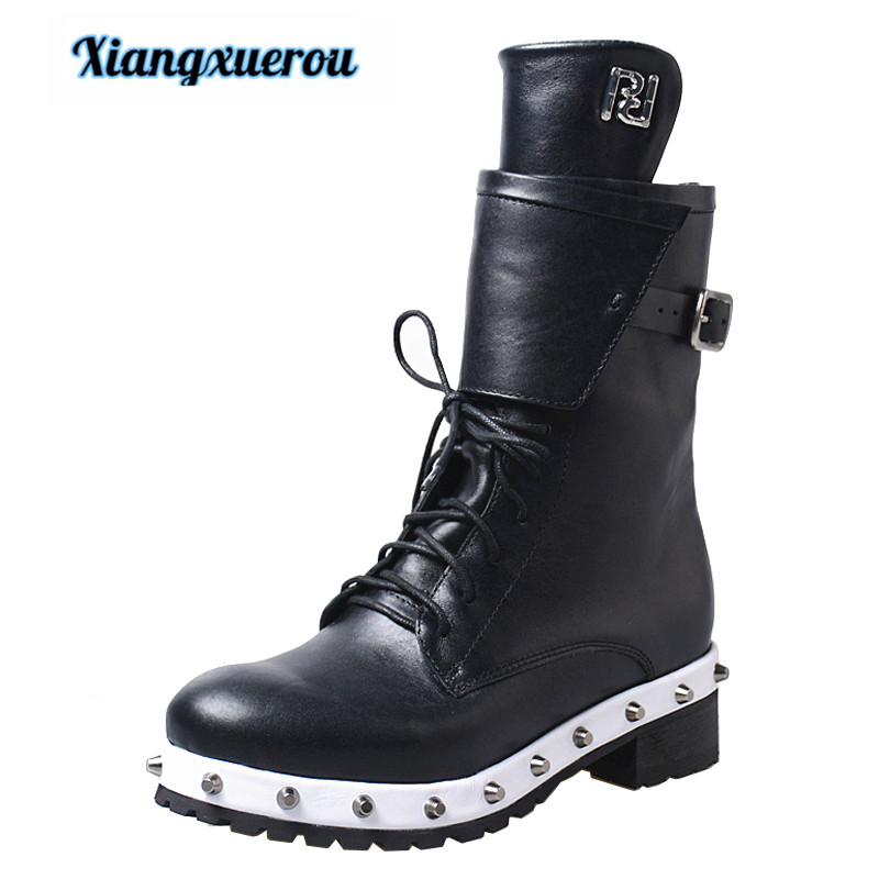 Xiangxuerou 2018 autumn and winter handmade shoes retro round head thick bottom waterproof platform riveted Chelsea boots riveted