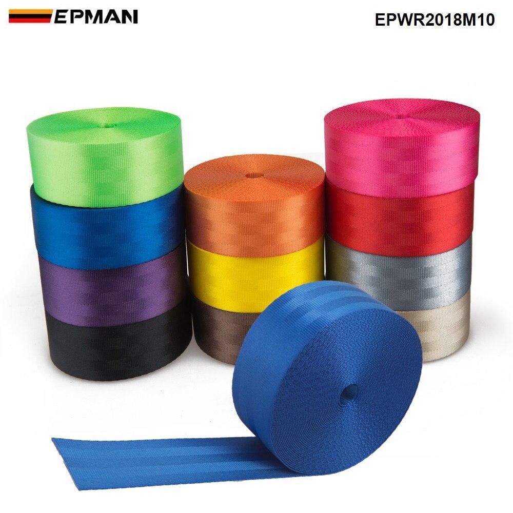 EPMAN 10 mètres renforcer la ceinture de sécurité sangle tissu course voiture ceintures de sécurité harnais sangles de sangle 2 pouces EPWR2018M10-AF
