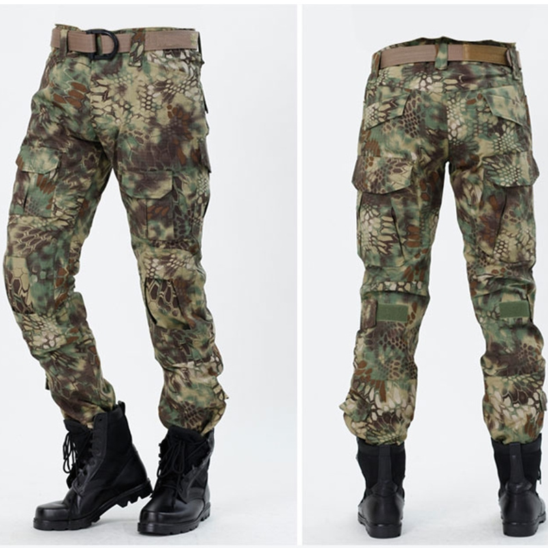 CQC Tactical Pants Cargo Men Military Hunting Airsoft Paintball Camouflage Gen2 Army BDU Combat Pants With Knee Pads Mandrake