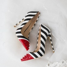 Sexy Women High Heels Shoes Pointed Toe Red Rivets Black White Zebra Stripes Pumps Spike Office Womens
