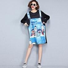 46af54bc52 Summer Denim Strap Dress Black T-shirt Fake 2 Pieces 2018 Fashion Cotton  Jeans Pacthwork Tops Blouses Irregular Dresses SR351