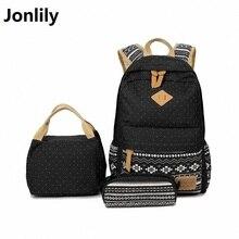 Jonlily Women Backpack For Teenage Girls School Bags Rucksack Back Pack Canvas Printing Backpack Set For Children LI-331
