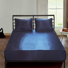 Soft Plain Silk Fitted Sheet Satin Bed Cover Home Bedroom Bedsheet Twin Queen King Size 180*200 Bedspread Bed Sheets drap housse bedspread ethel silk lace size 180 220 cm faux silk 100% n e
