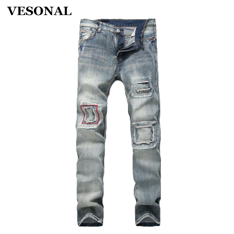 VESONAL 2017 Brand Fashion Vintage Ripped Biker Hip Hop Swag Men Jeans Pants Casual Hole Printed Slim Denim Mens Trousers VE113 2017 fashion patch jeans men slim straight denim jeans ripped trousers new famous brand biker jeans logo mens zipper jeans 604