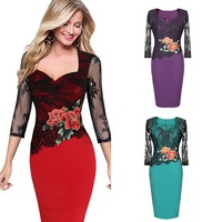 Womens Elegant Lace Bridesmaid Mother Of Bride Party Work Fitted Stretch Slim Wiggle Pencil Sheath Bodycon