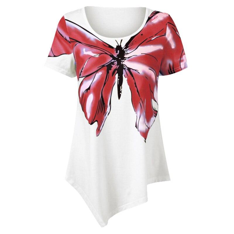 Summer White Blouse Shirt Women Printed s