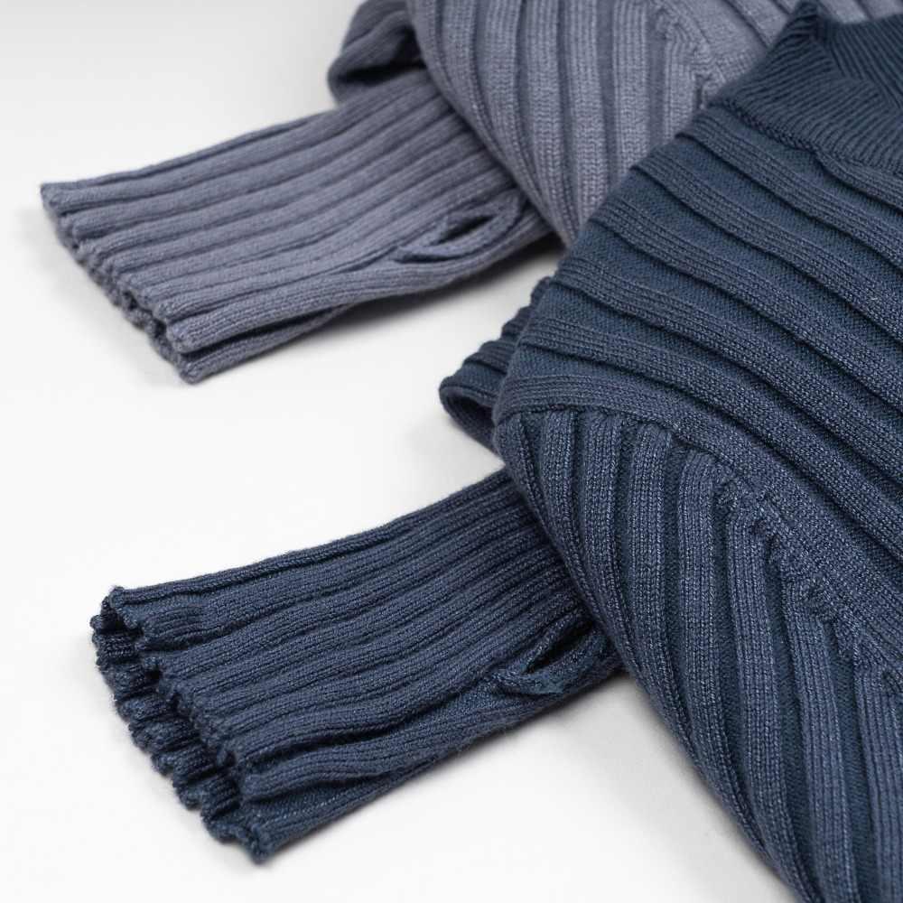 เสื้อกันหนาวผู้หญิง Pullover Basic ซี่โครงถักผ้าฝ้ายเสื้อลูกเรือคอ Essential จัมเปอร์แขนยาว Thumb Hole