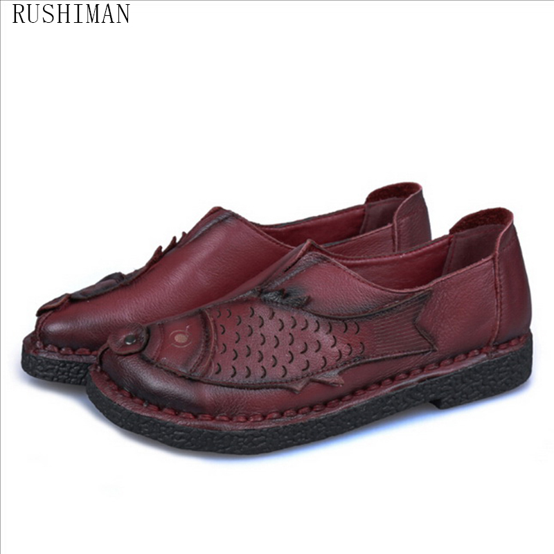 RUSHIMAN Spring Autumn New Handmade Shoes Genuine Leather Flat Shoes Comfortable Casual Loafers Mother Shoes aiyuqi 2018 new spring genuine leather female comfortable shoes bow commuter casual low heeled mother shoes woeme page 5