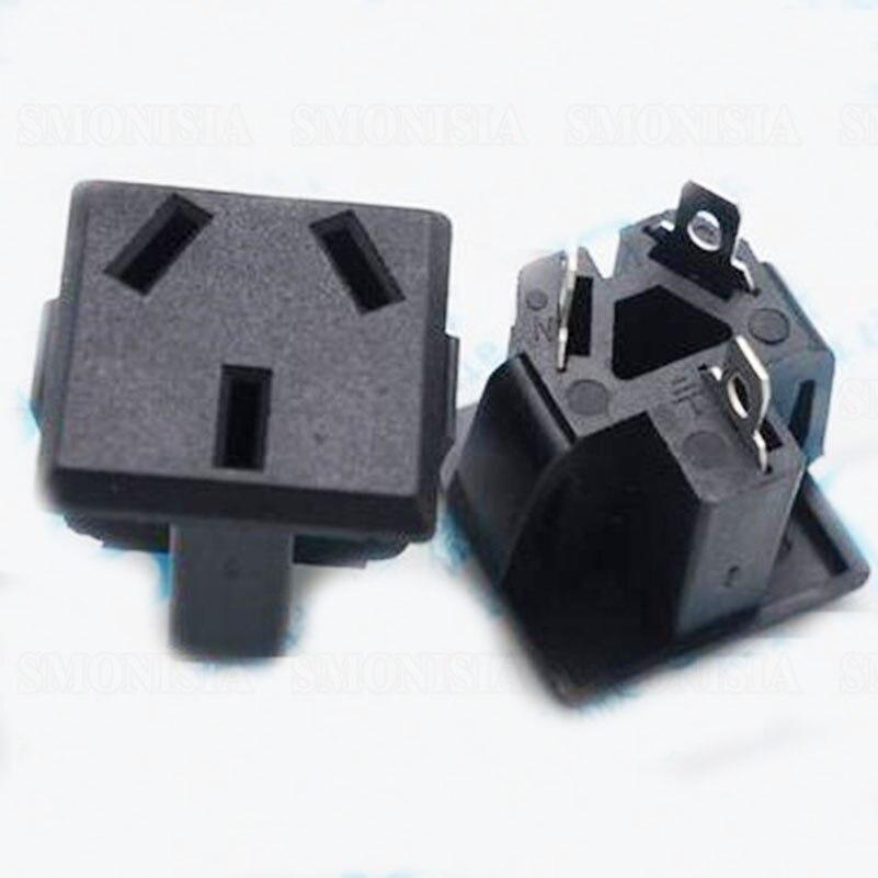 ФОТО AC-07 Power Socket Three Pin GB Brass Power Connector 250V AC