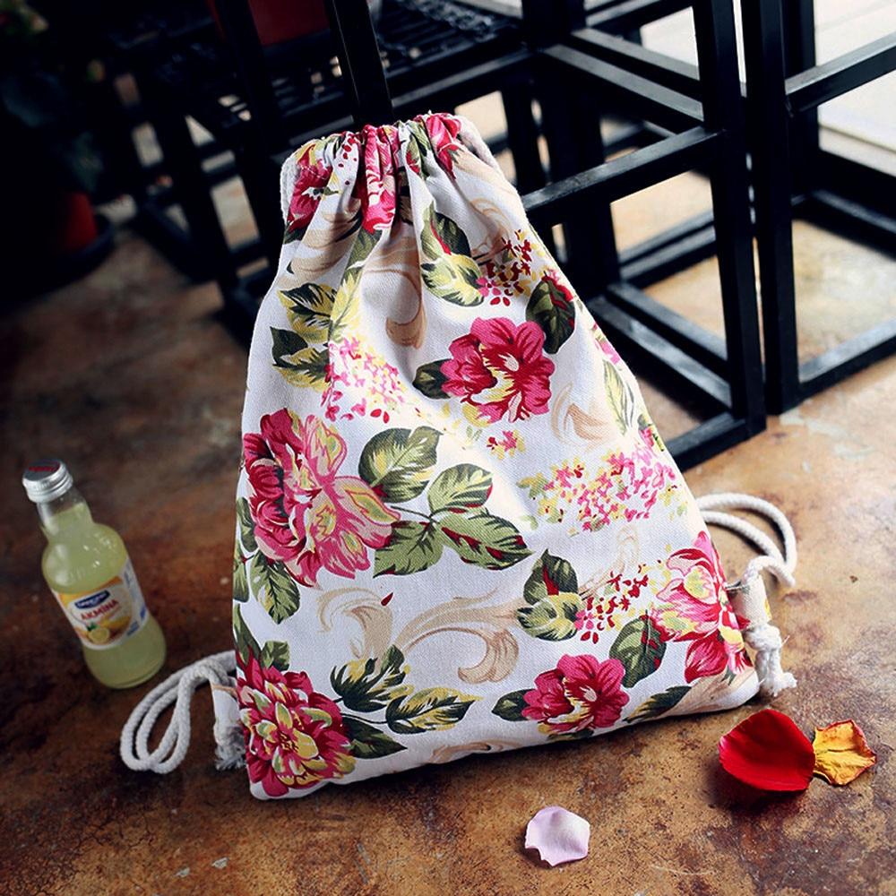 Backpack Womens School Bags Canvas Flower Stripped Fashion Style Drawstring Printing Backpacks Mochila Feminina drop ship