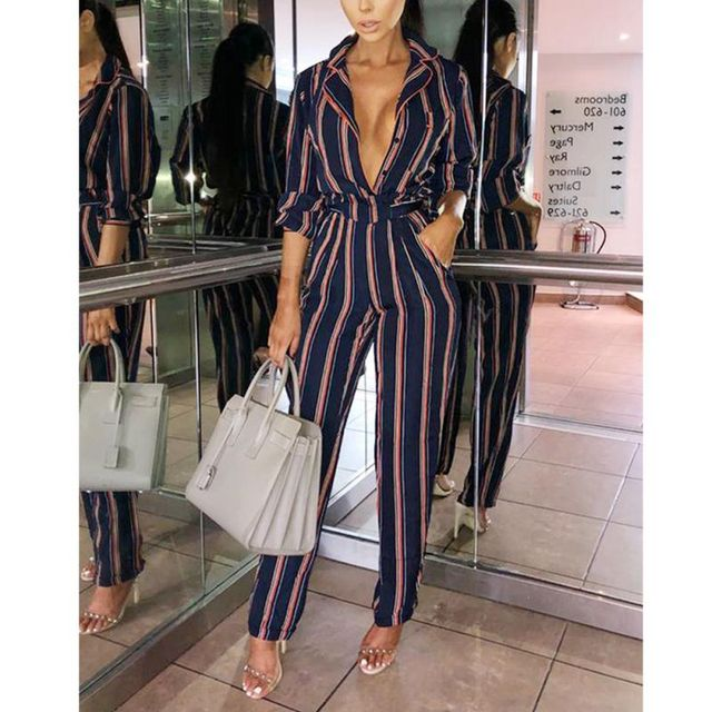 16b85569dc6 2018 Women Overalls Jumpsuit Autumn Fashion Print Sexy Striped Long-sleeved Pocket  Lace Up Casual