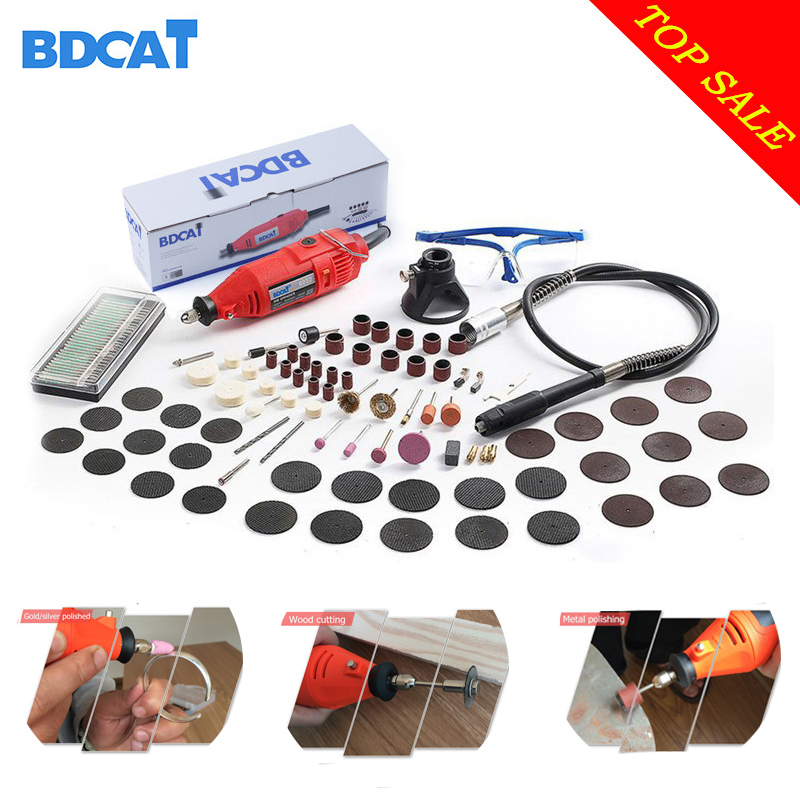 BDCAT 180W Electric Dremel Mini Drill polishing machine Variable Speed Rotary Tool with 140pcs Power Tools accessories tools accessories h180 h160 flame polishing machine gun fire polishing gun organic glass polishing gun