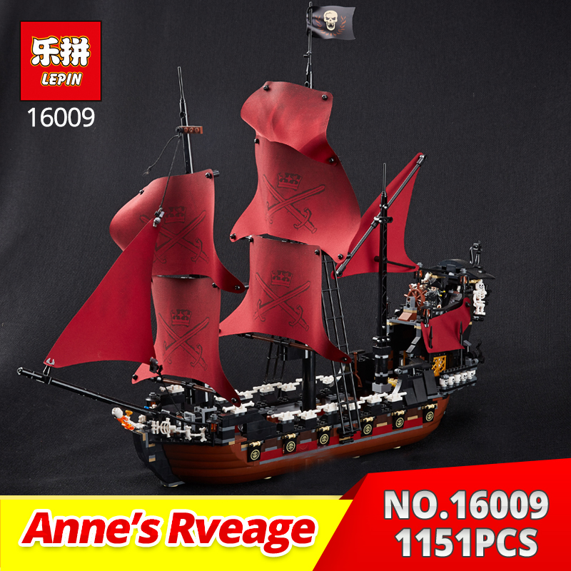 Lepin 16009 1151Pcs The Caribbean Queen Anne's Revenge of Pirates Model Building Blocks Bricks Toy Gift for Kids Compatible 4195 lepin 22001 1717pcs pirate ship imperial warships model building blocks toy compatible with legoe pirates caribbean 10210