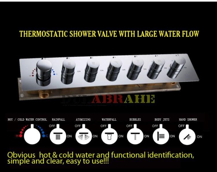 Душевой кран для ванной комнаты, набор водопада, смеситель для ванны, душевая панель, потолочный светодиодный душевой наконечник, термостатическая система для ванны и душа