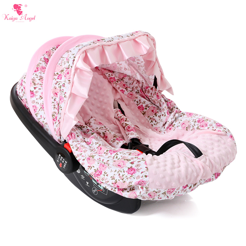 buy infant baby car seat cover pink floral fashion cotton car seat cover satin. Black Bedroom Furniture Sets. Home Design Ideas