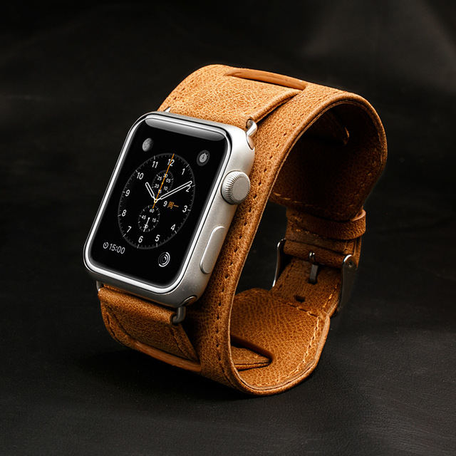 Genuine Leather watchbands Watch Bands Watch Strap Butterfly Buckle for Apple Watch 42 38mm