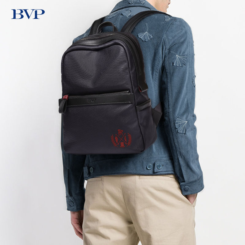 BVP Famous Brand Genuine Leather Casual Backpack High Quality 15 Inch Laptop Men Travel Bag Light Waterproof School Backpack J50 s c cotton brand backpack men good quality genuine leather
