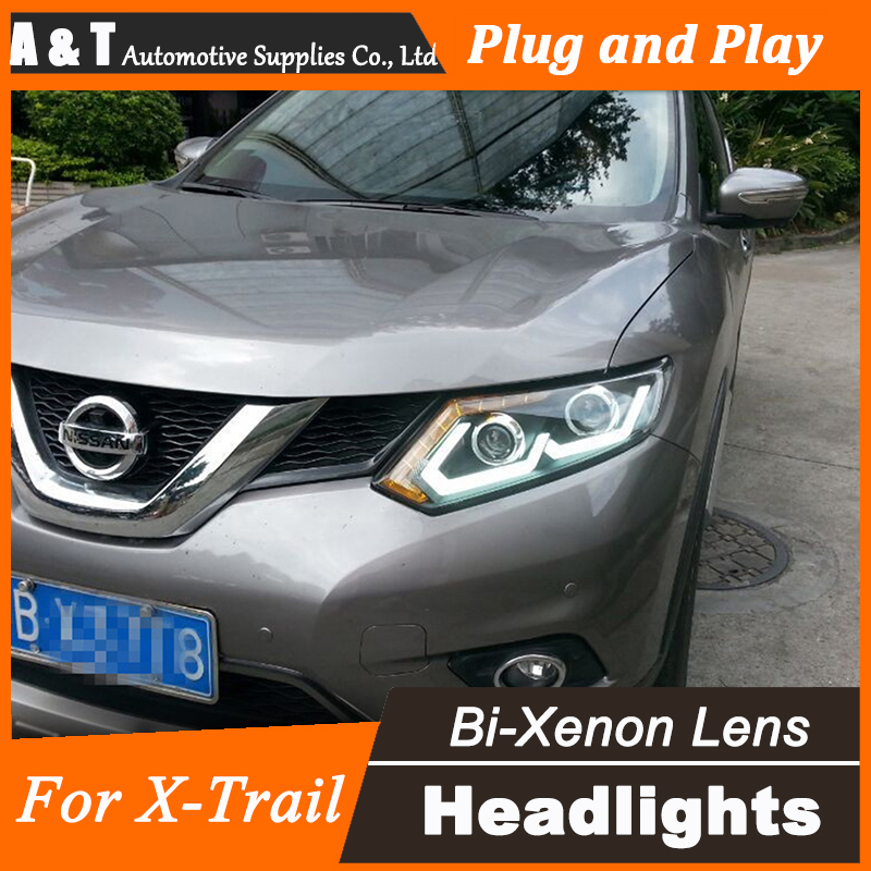 Car Styling for Nissan X-trail LED Headlight Rouge LED Headlight DRL Lens Double Beam H7 HID Xenon bi xenon lens hireno headlamp for 2013 2015 nissan tiida headlight assembly led drl angel lens double beam hid xenon 2pcs