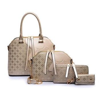 Luxury Women Handbags Composite Lady Shoulder Crossbody Wallet Key Bag PU Leather Girl Pattern Bags 4pcs/set