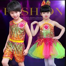 Sequin Jazz Dance Modern Girls Dancing Costumes Colorful tutu Dress Suit Girl Stage Perform Wear Garments for Boys
