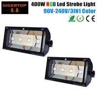 Freeshipping 2 pacote 400 w rgb led luz estroboscópica 3-em-1 cor mistura de alta potência efeito de palco luz novo design dmx512 3pin in/out
