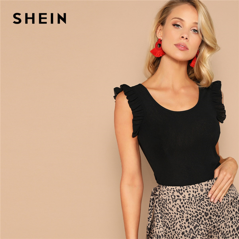 SHEIN Cute Black Ruffle Armhole Rib-knit Fitted Solid   Tank     Top   Women Summer 2019 Scoop Neck Solid Slim Basics Elegant Vests