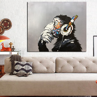 Unframed Hand Painted Monkey Animal Oil Painting For Living Room Wall Art Picture Gift Decoration Home