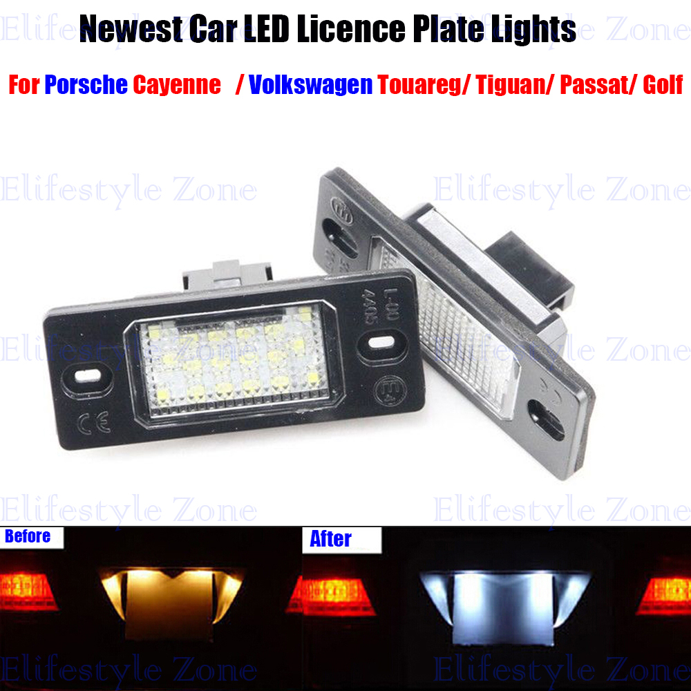 2 x LED Number License Plate Lamp OBC Error Free 18 LED For Porsche Cayenne Volkswagen VW Tiguan Golf Passat Touareg 2 x led number license plate lamps obc error free 24 led for bmw e39 e80 e82 e90 e91 e92 e60 e61 e70 e71