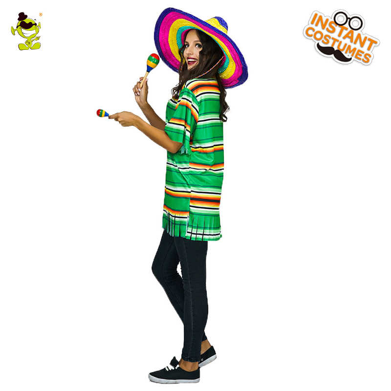 9fd4cdbdc0366 Woman Mexican Poncho Costume Carnival Party Role Playing Stripped Cloak  Outfits Women Halloween Cosplay Mexico Cape Costumes