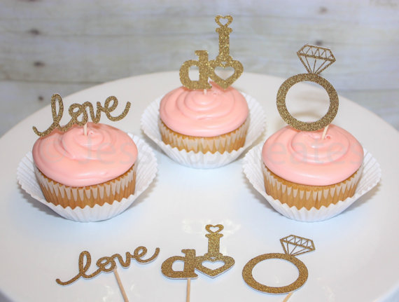 Gold Glitter Love I Do Engagement Ring Cupcake Toppers