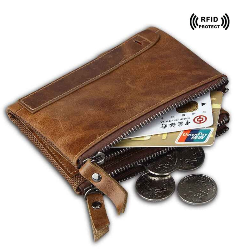 Crazy Horse Leather Rfid Blocking Wallet for Credit Cards Holder Double Zipper Designer Coin Purse 2017 Trend Men's Money Bag lexeb cow leather wallet for men credit cards case rfid blocking short style zipper hasp id holders bifold coin purses black