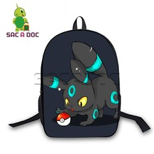 16 Inch Pokemon Backpack Boys Girls School Bags Chibi Umbreon Eevee for Teenagers Students Daily Gift