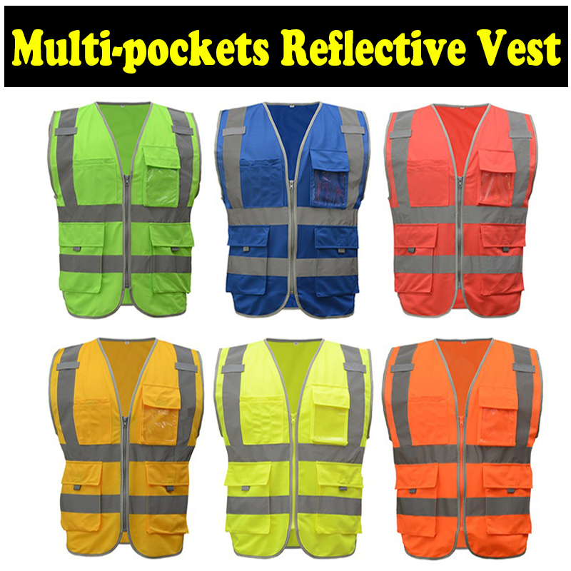 SFvest reflective safety vest waistcoat High visibility multi pockets workwear safety work waistcoat vest mens free shipping nidec v60e12bs1a7 09a032 6cm 60mm 496064 001 496066 001 server cooling fan p n 463172 001 dl380g6 dl388g7