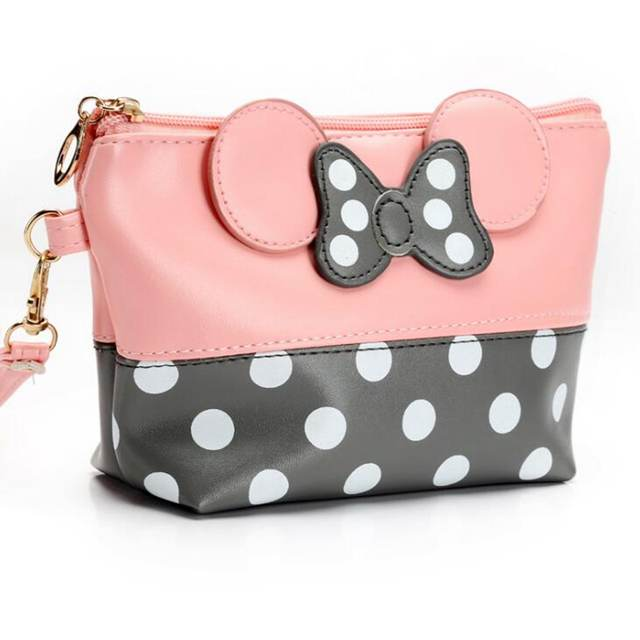 placeholder Travel Cosmetic Bag Cartoon Bow Makeup Case Women Zipper Hand  Holding Make Up Handbag Organizer Storage c4637c901e