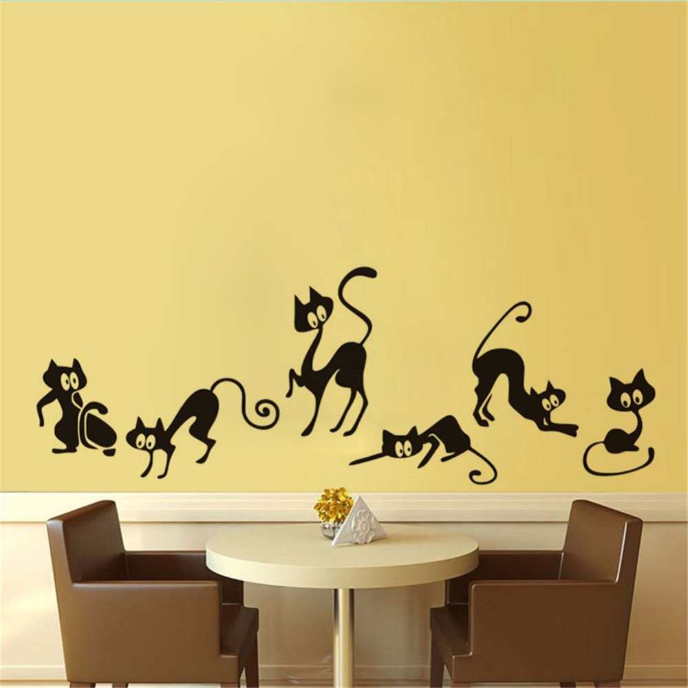 Yanqiao Funny Cat Wall Sticker Bedroom Living Room Mural Art ...