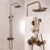 2015 חדש ערכת מקלחת פליז עגול מקלחת אמבטיה אופנה עתיק סט כפול Vintage חם וקר ברז עם מקלחת נחושת מעלית