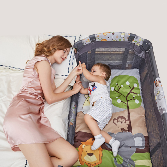 2017 Multi Function Folding Baby Bed, European Portable Game Bed, Baby Travel Bed, Can Connect With Large Bed Have Mosquito Net