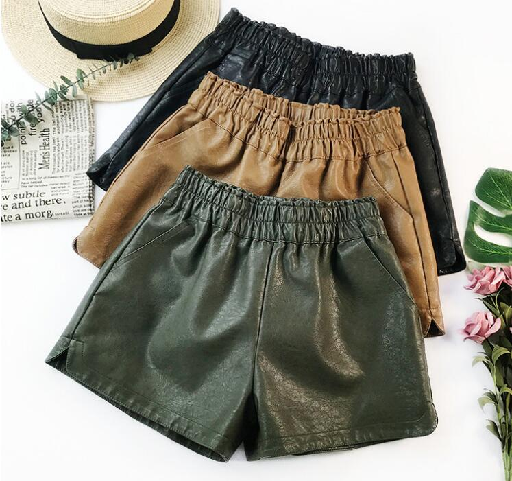 2018 Casual Straight Sexy Women Autumn PU Pockets High Waist Booty Elastic Detail Decoration Leather   Shorts   Vintage   Shorts
