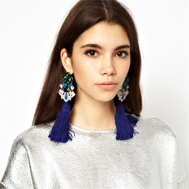 Fashion New Luxury Trend Earrings Ethnic Blue Fringe Tel Handmade Chinese Wind National