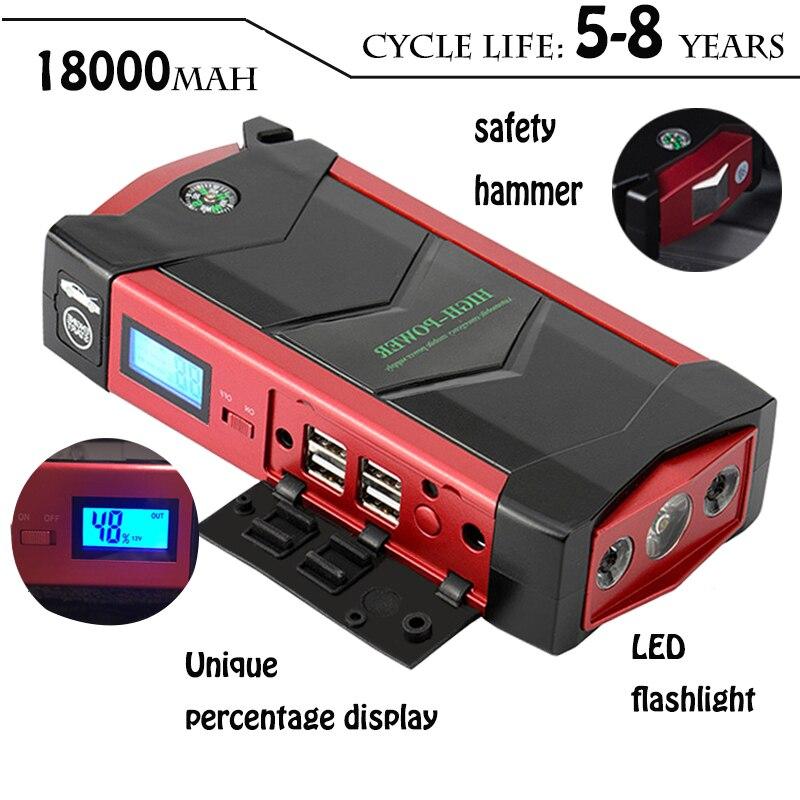 Démarreur de saut de batterie de voiture d'urgence 12V démarreur Portable 600A batterie externe chargeur de voiture pour voiture Booster Buster