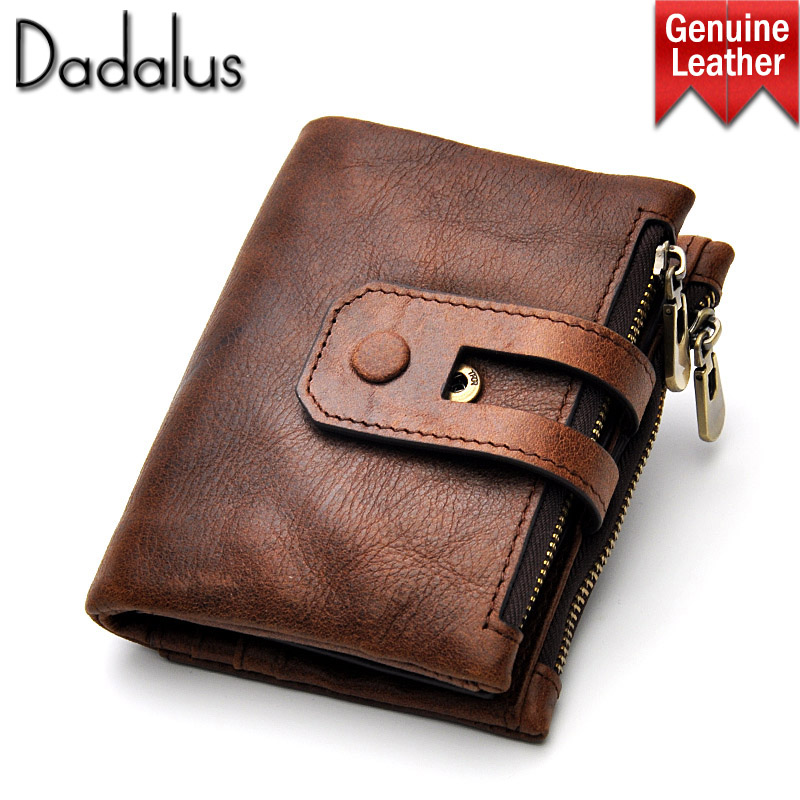 Dadalus Short Genuine Leather Cowhide Cover Men Wallet For business card holder Coin Money Double Zipper Male Purse Card Holder frank buytendijk dealing with dilemmas where business analytics fall short