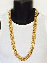 Mens Miami cubano encintado cadena real 24 K sólido amarillo oro GF hip hop 10mm gruesa cadena jayz epacket envío gratis