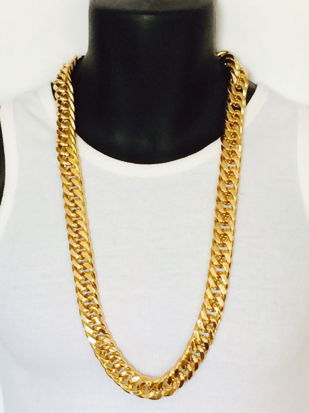 Mens Miami Cuban Link Curb Chain Real 24k Yellow Solid Gold GF Hip Hop 10MM Thick Chain JayZ Epacket FREE SHIPPING