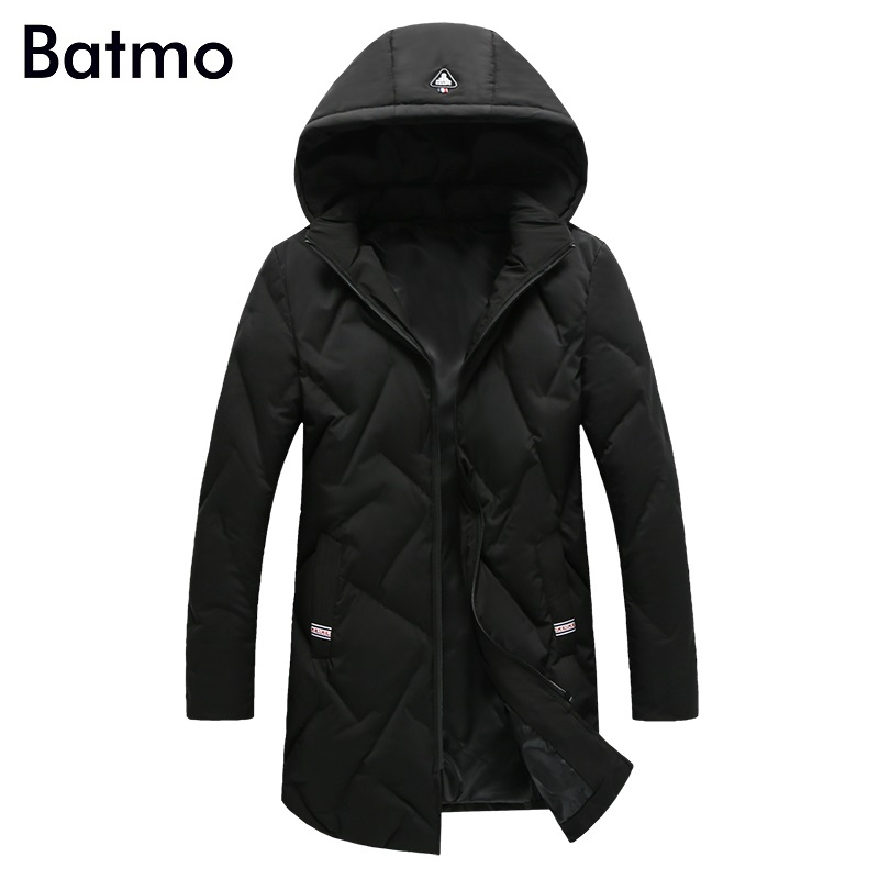 Batmo 2017 new arrival high quality white 80% duck down warm hooded long jacket men,winter coat men,Windproof,B40