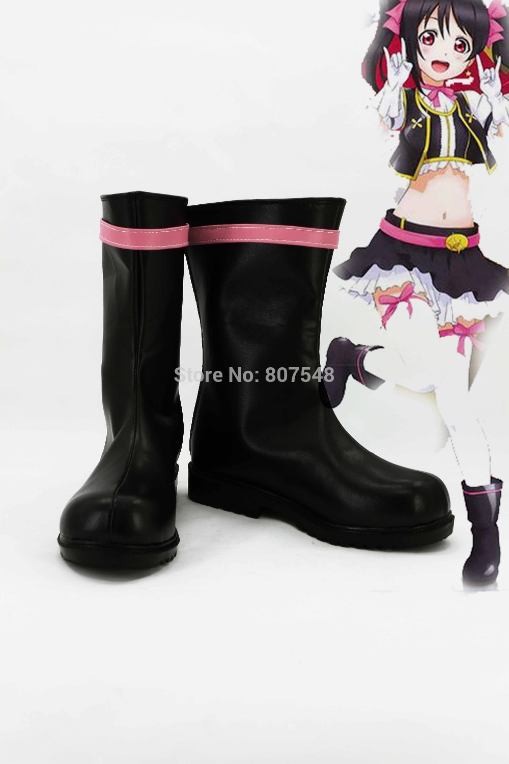 New Arrival Anime LOVELIVE Cosplay Women Boots Girls Shoes Custom Mid Calf  Boots Free Shipping