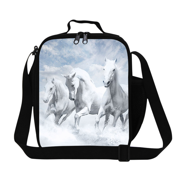 Preppy Style White Horses 3D Print Kids Lunch Bag Animal Small Lunch Box For Men Insulated Food Bag Lancheira Termica Snacks Bag
